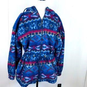 Vintage Aztec Print Fleece Jacket Sz L